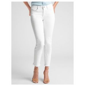 Off White Straight Crop Raw Hem Jeans by Gap